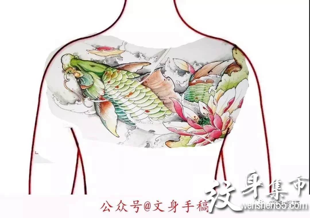 花胸纹身,花胸纹身手稿,花胸纹身手稿图案