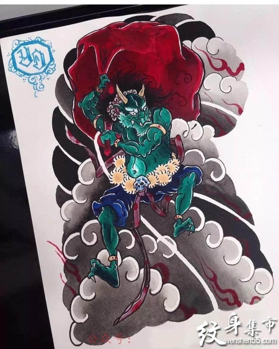 日式半甲满背纹身,日式半甲满背纹身手稿图案