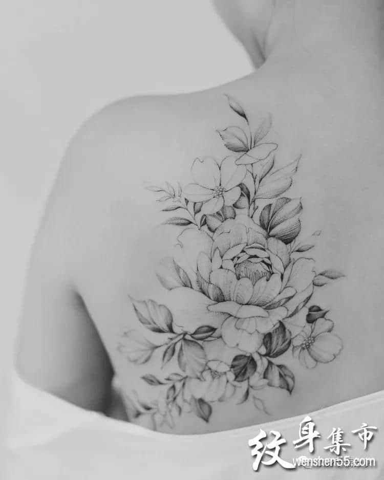 素花纹身,素花纹身手稿图案,别人家女朋友身上的大素花