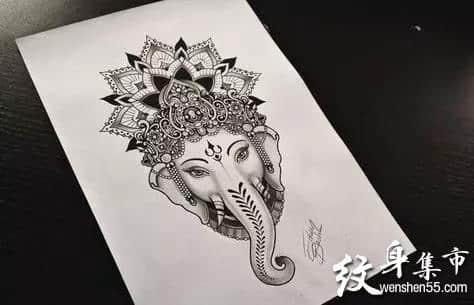 象神纹身,象神纹身手稿,象神纹身手稿图案