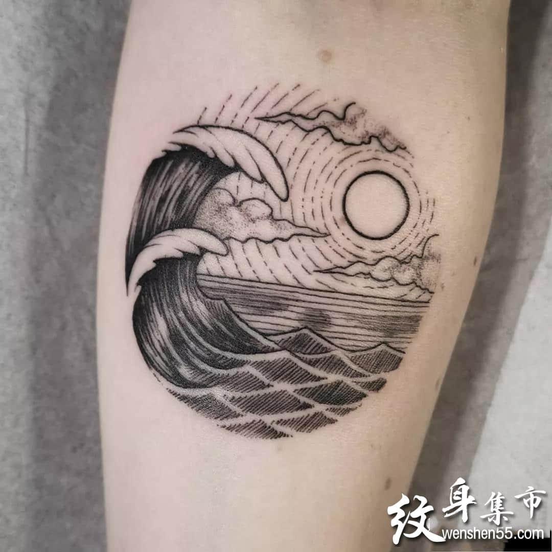 海浪纹身,海浪纹身手稿,海浪纹身手稿图案