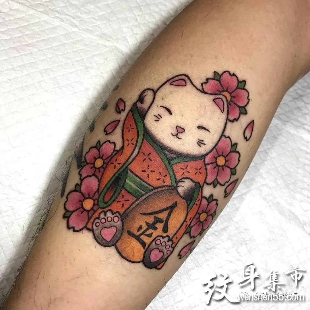 招财猫纹身,招财猫纹身手稿,招财猫纹身手稿图案