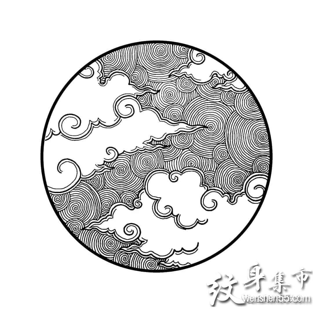 小清新云朵纹身,云朵纹身手稿,云朵纹身手稿图案