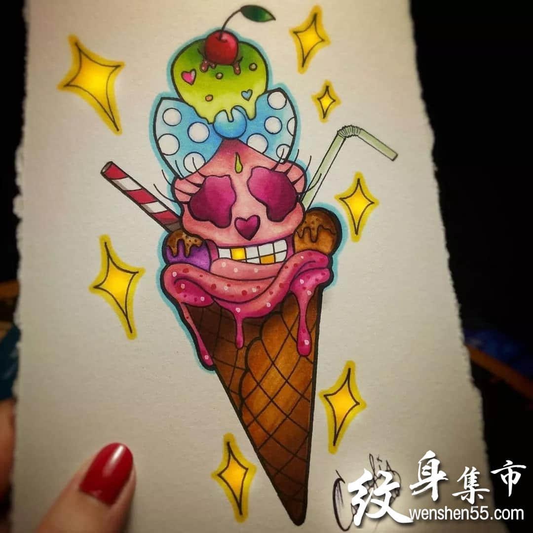 冰淇淋纹身,冰淇淋纹身手稿,冰淇淋纹身手稿图案