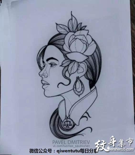 黑灰女郎纹身,黑灰女郎纹身手稿,黑灰女郎纹身手稿图案