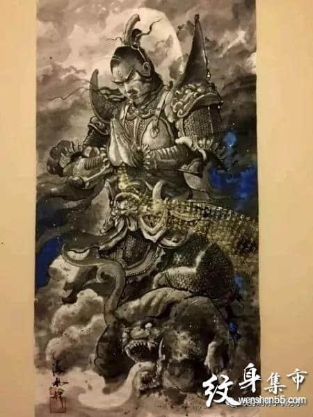 二郎神纹身,二郎神纹身手稿,二郎神纹身手稿图案大全