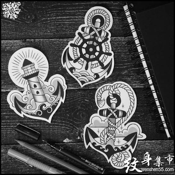 船舵船锚纹身,船舵船锚纹身手稿,船舵船锚纹身手稿图案