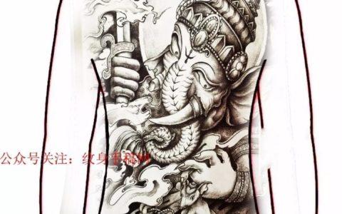 象神满背纹身,象神满背纹身手稿,象神满背纹身手稿图案