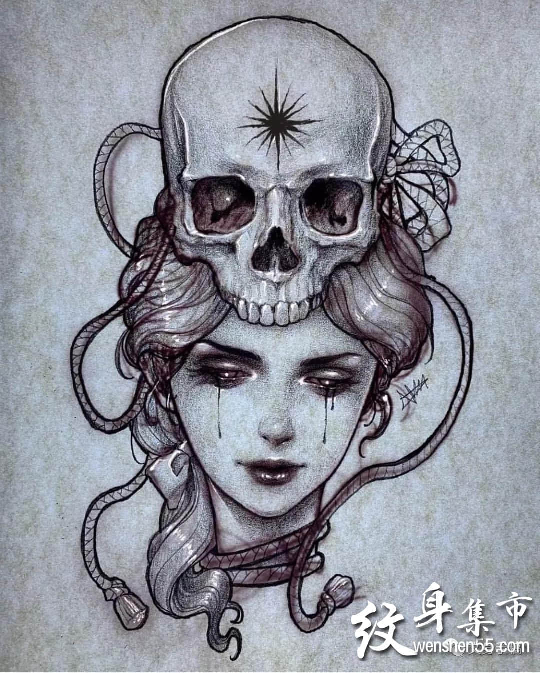 欧美艺伎纹身,欧美艺伎纹身手稿图案,欧美肖像纹身
