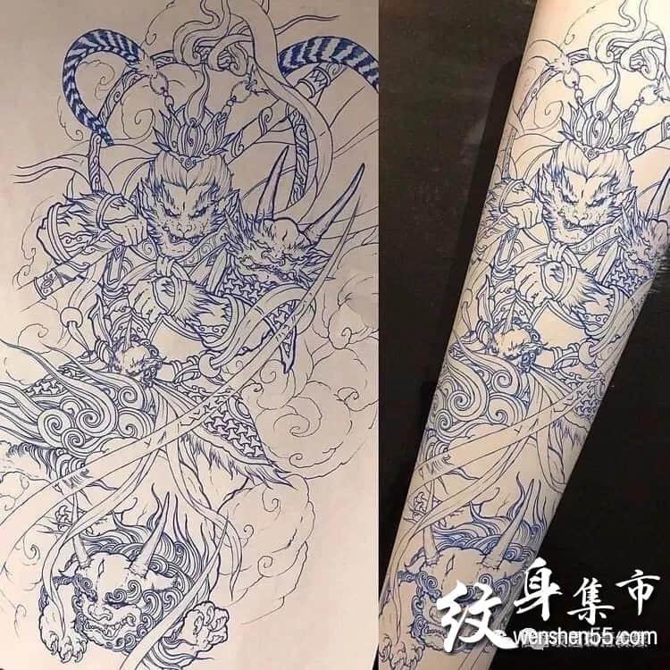 传统花臂纹身,传统花臂纹身手稿线稿
