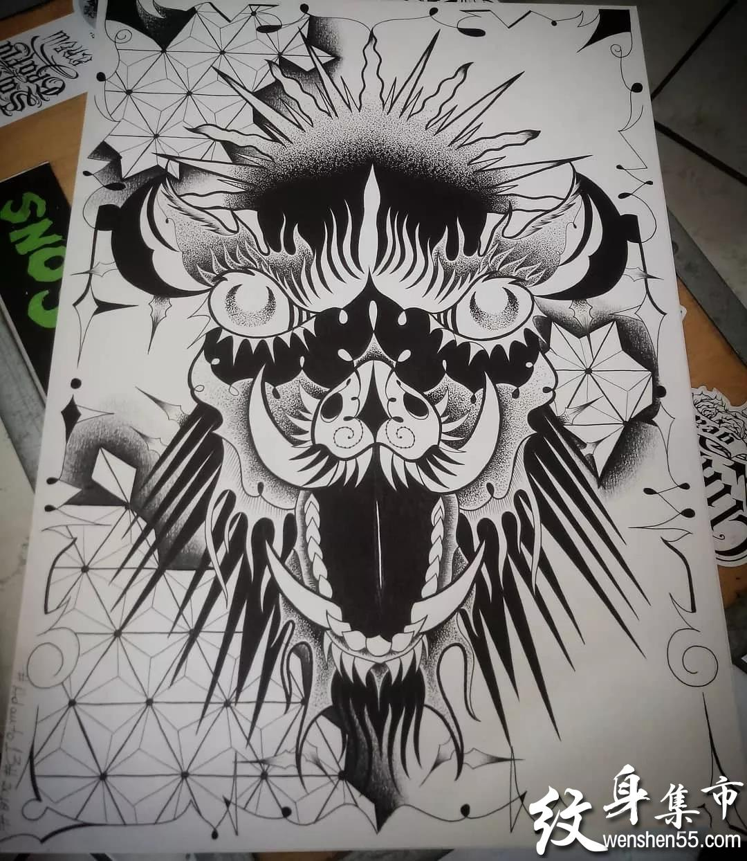 野猪纹身,野猪纹身手稿,野猪纹身手稿图案