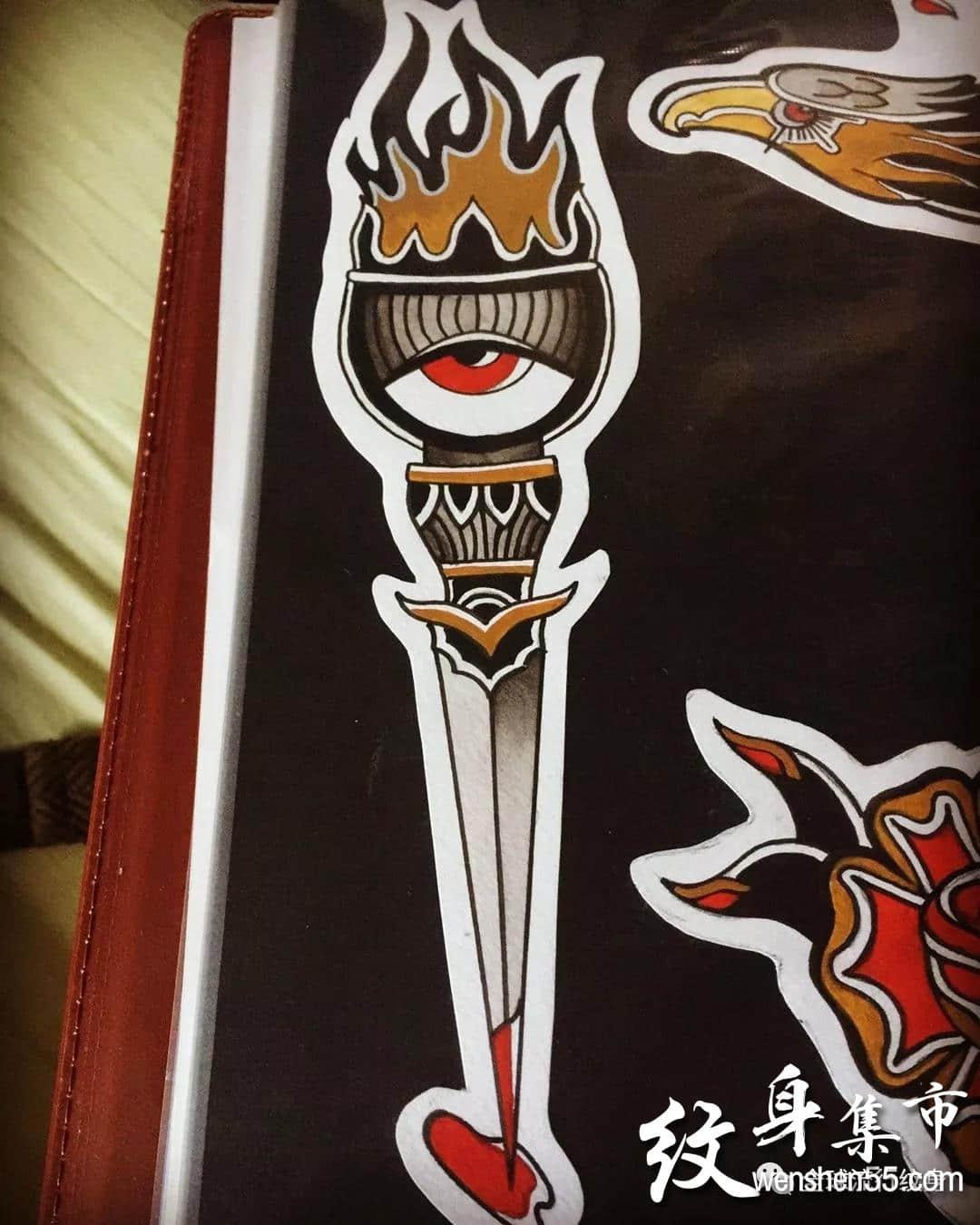 火炬纹身,火炬纹身手稿,火炬纹身手稿图案大全