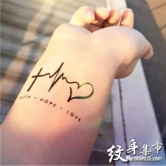 心电图纹身,心电图纹身手稿,心电图纹身手稿图案大全