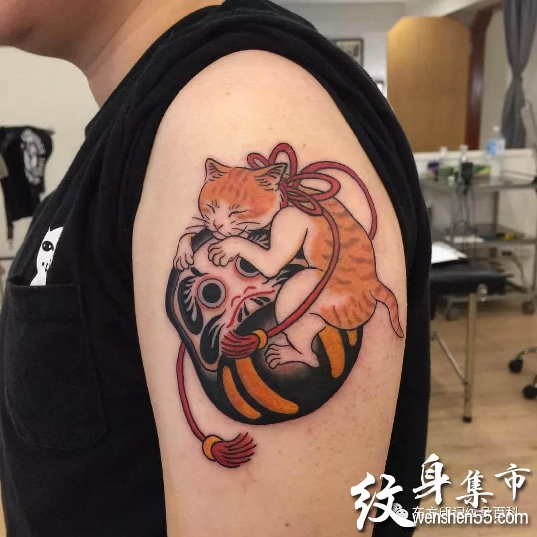 日式猫咪纹身,日式猫咪纹身手稿,日式猫咪纹身手稿图案