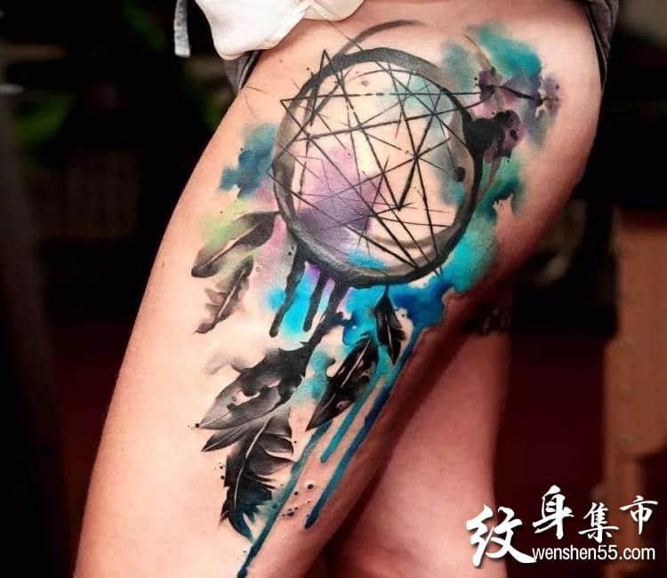 水彩捕梦网纹身,水彩捕梦网纹身手稿,水彩捕梦网纹身手稿图案