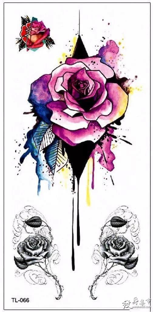 水彩玫瑰纹身,水彩玫瑰纹身手稿,水彩玫瑰纹身手稿图案