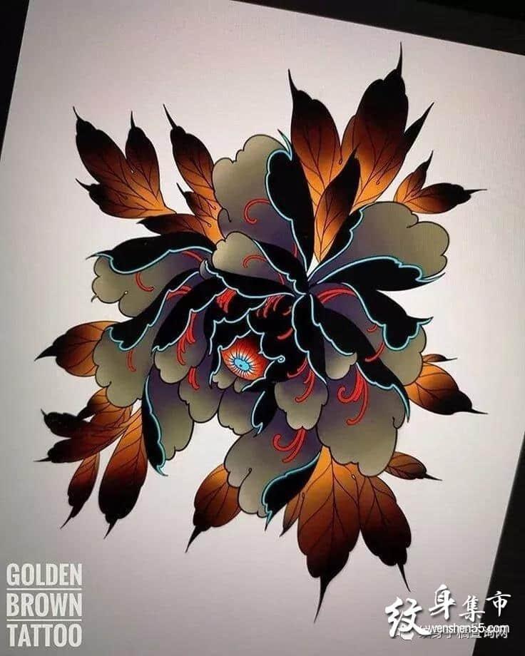 牡丹菊花纹身,牡丹菊花纹身手稿,牡丹菊花纹身手稿图案