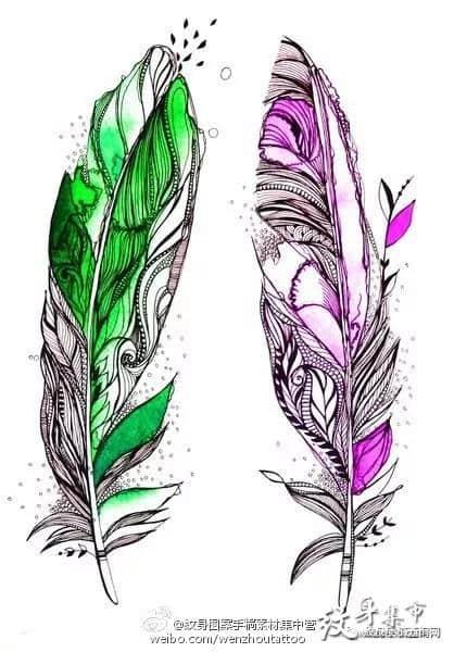 羽毛纹身,羽毛纹身手稿,羽毛纹身手稿图案