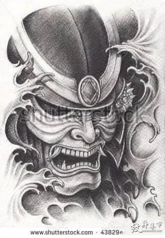 鬼武士纹身,鬼武士纹身手稿,鬼武士纹身手稿图案