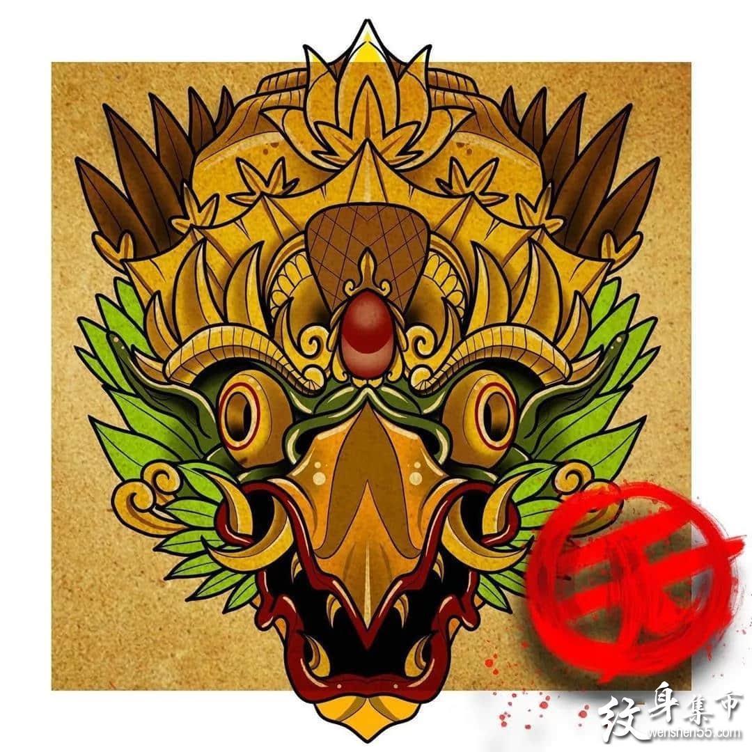 大鹏金翅鸟纹身,大鹏金翅鸟纹身手稿,大鹏金翅鸟纹身手稿图案