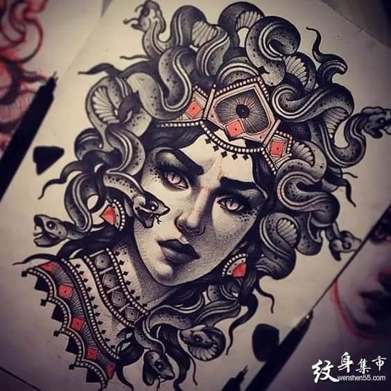美杜莎纹身,美杜莎纹身手稿,美杜莎纹身手稿图案