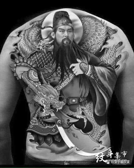 关羽纹身,关羽纹身手稿,关羽关二爷纹身手稿图案