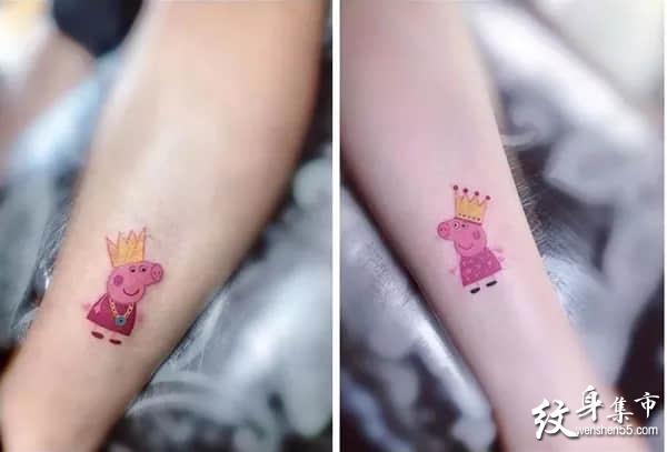 小猪佩奇纹身,小猪佩奇纹身手稿,小猪佩奇纹身手稿图案