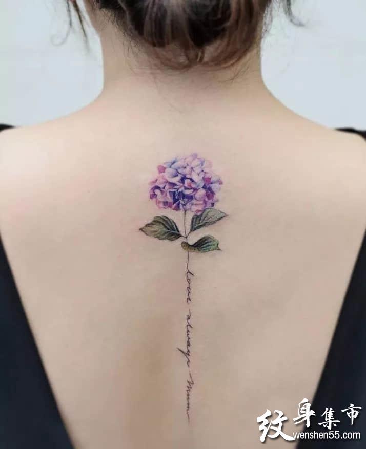 背脊花纹身,背脊花纹身手稿,背脊花纹身手稿图案