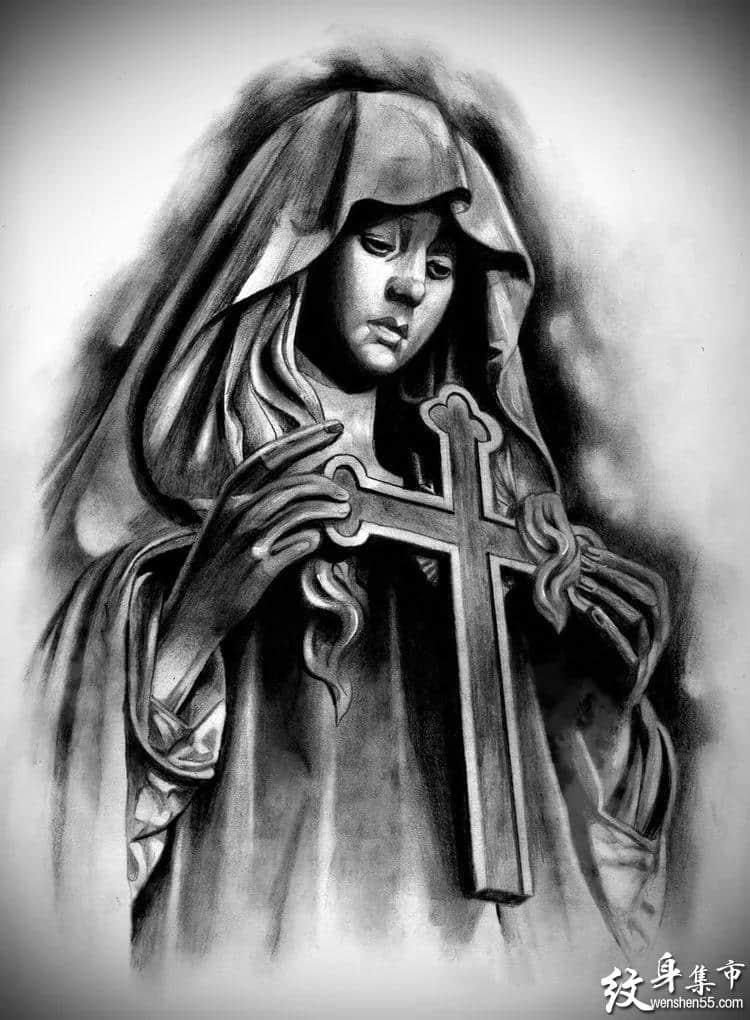 圣母玛利亚纹身,圣母玛利亚纹身手稿,圣母玛利亚纹身手稿图案