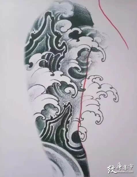水浪纹身,水浪纹身手稿,水浪纹身手稿图案