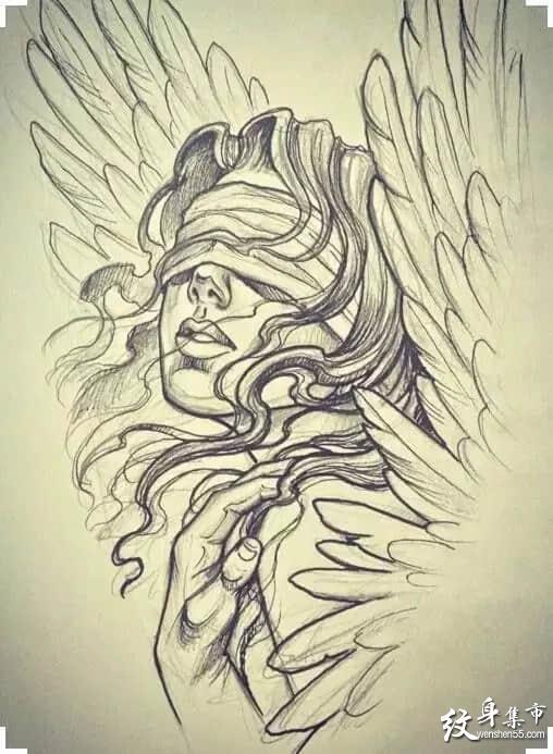 天使纹身,天使纹身手稿,天使翅膀纹身手稿图案