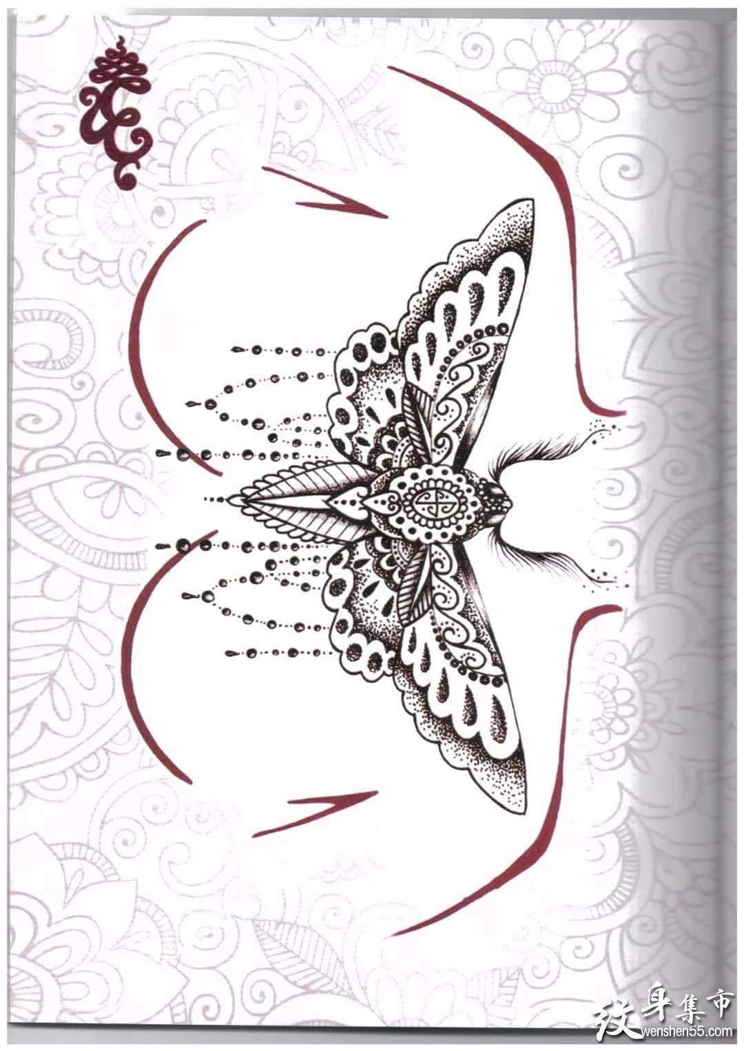 点刺花胸纹身,点刺花胸纹身手稿,点刺花胸纹身手稿图案