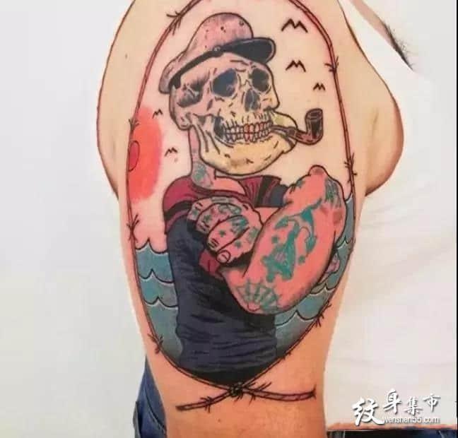 大力水手纹身,大力水手纹身手稿,大力水手纹身手稿图案
