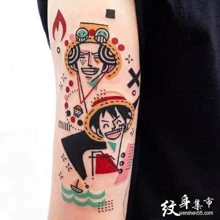海贼王路飞纹身,海贼王路飞纹身手稿,海贼王路飞纹身手稿图案
