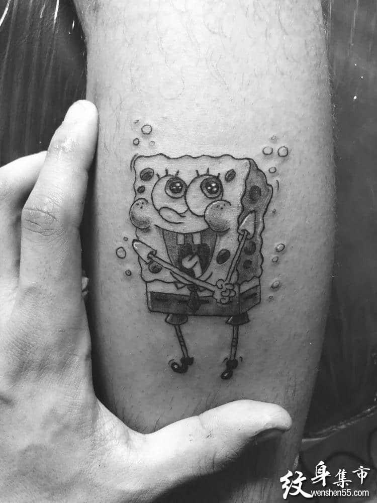 海绵宝宝纹身,海绵宝宝纹身手稿,海绵宝宝纹身手稿图案