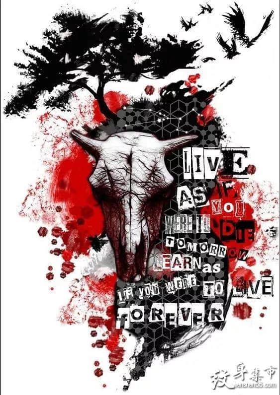 红色水墨纹身,红色水墨纹身手稿,红色水墨纹身手稿图案
