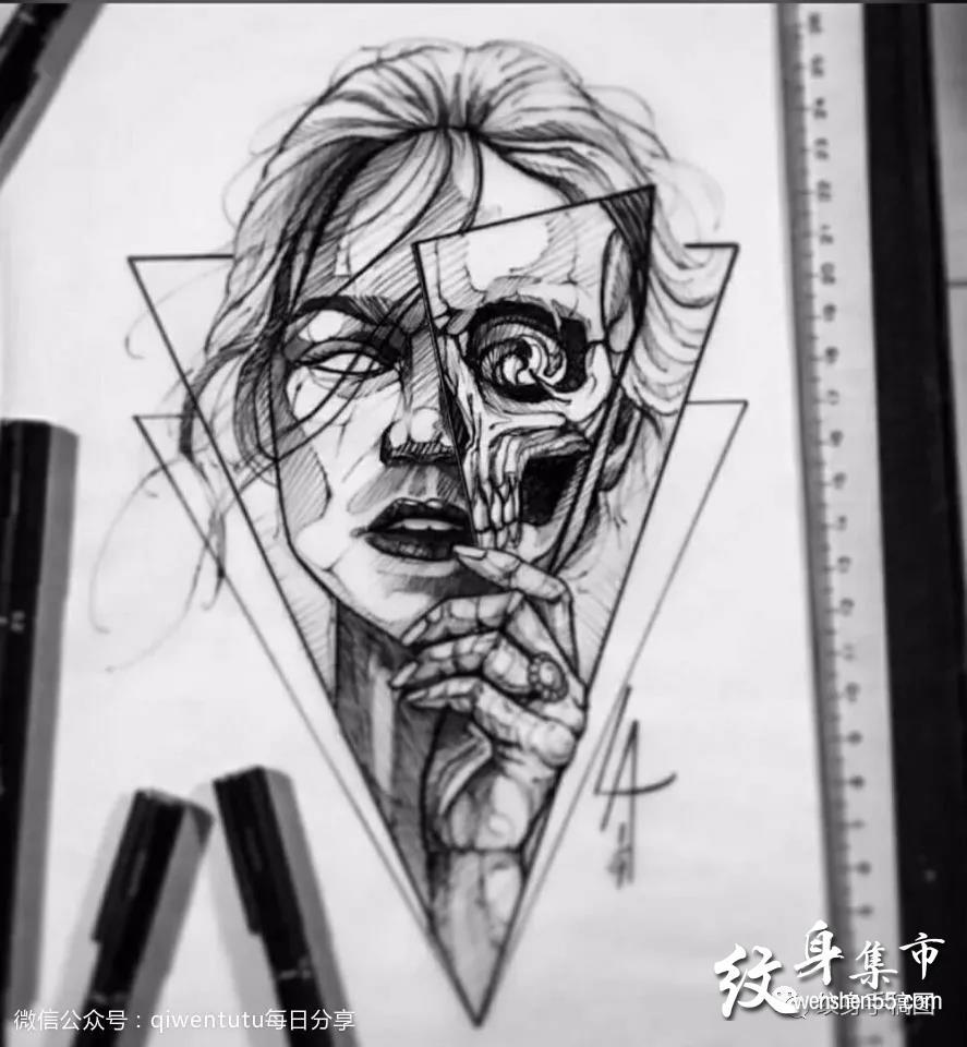 人物几何纹身,人物几何纹身手稿,人物几何纹身手稿图案