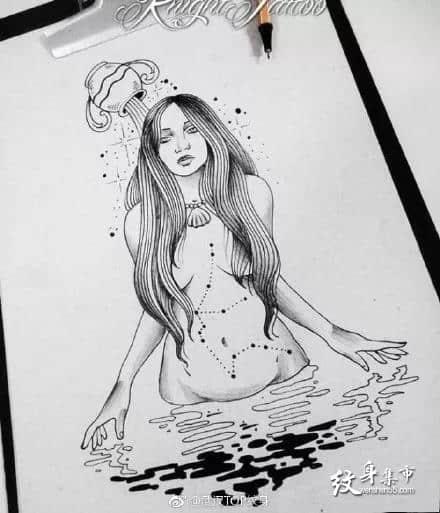 美人鱼纹身,美人鱼纹身手稿,美人鱼纹身手稿图案