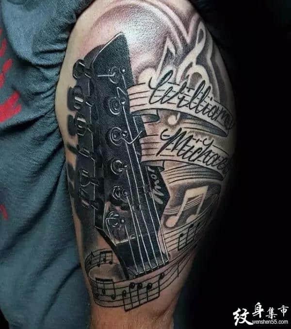 吉他纹身,吉他纹身手稿,吉他纹身手稿图案