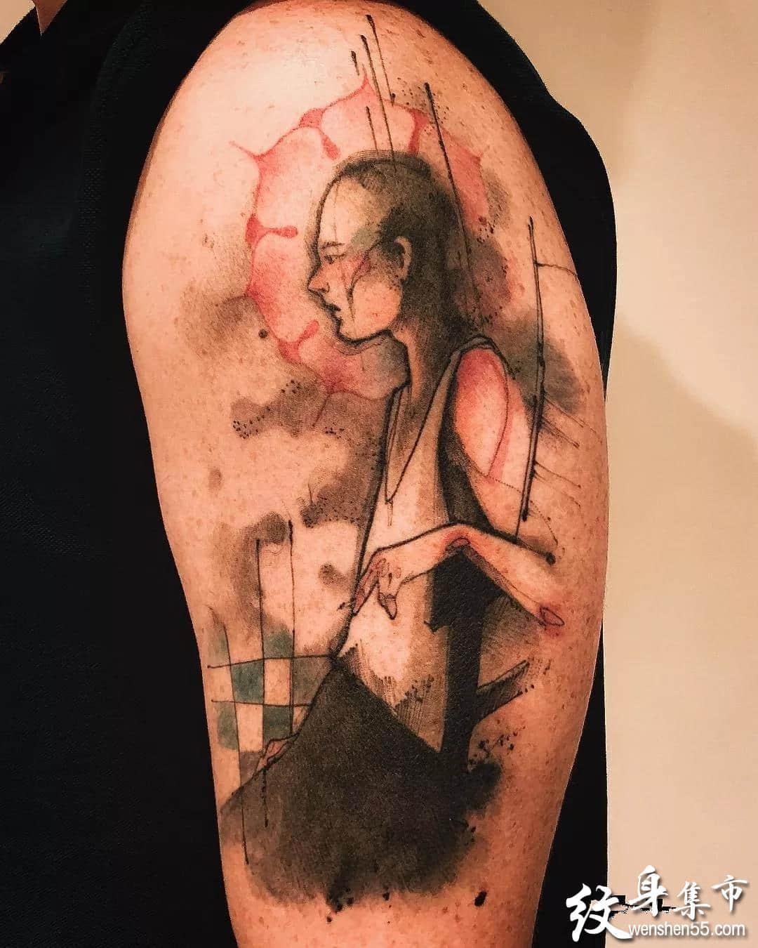 水墨晕染纹身,水墨晕染纹身手稿,水墨晕染纹身手稿图案