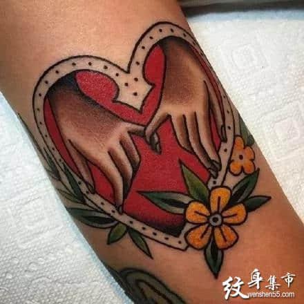 心型牵手纹身,心型牵手纹身手稿,心型牵手纹身手稿图案