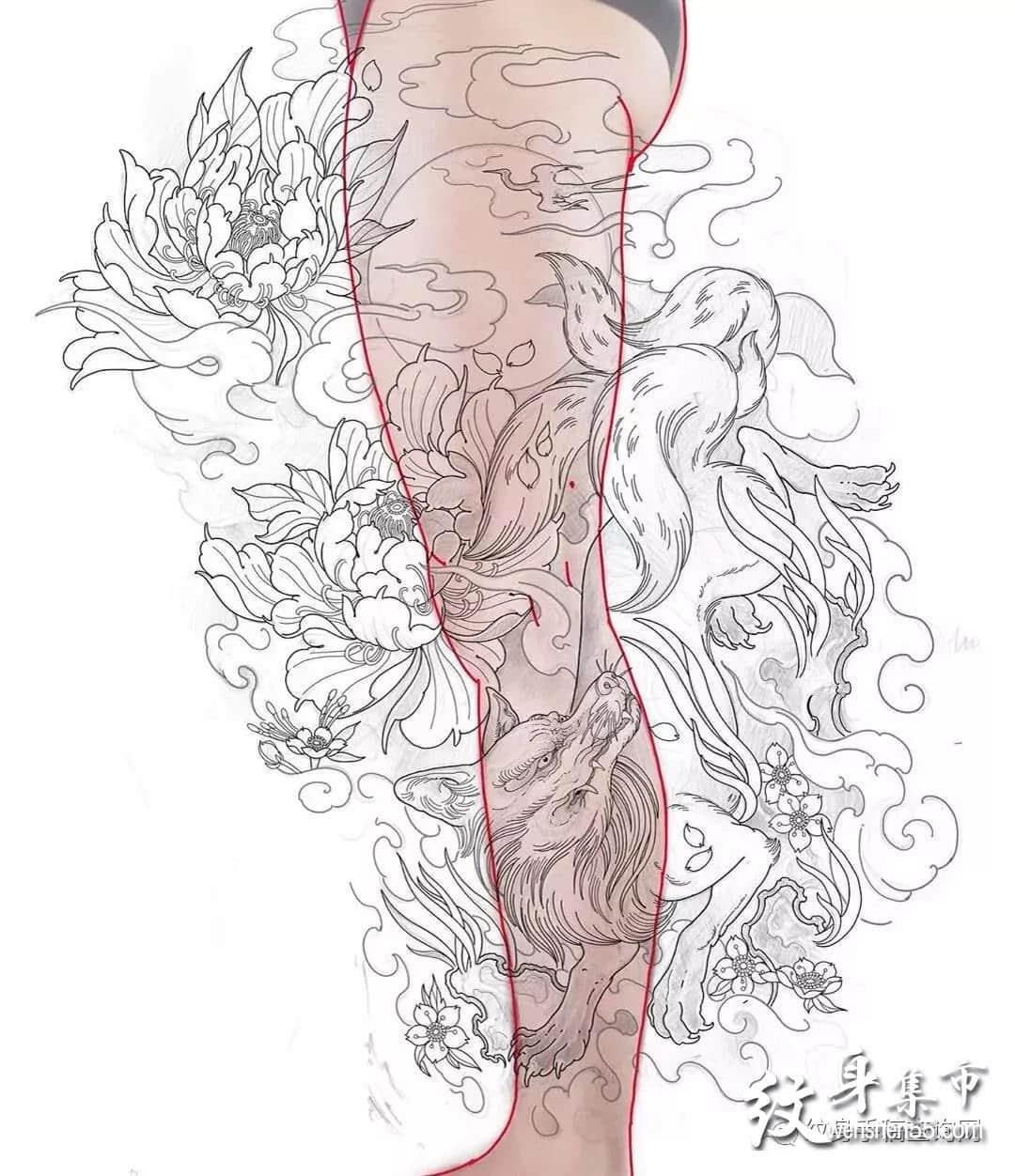 九尾狐纹身,九尾狐纹身手稿,九尾狐纹身手稿图案
