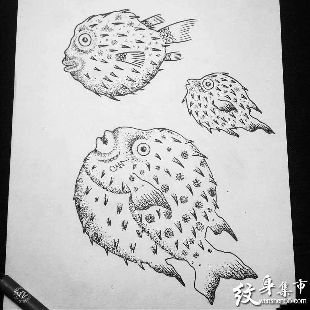 河豚纹身,河豚纹身手稿,河豚纹身手稿图案