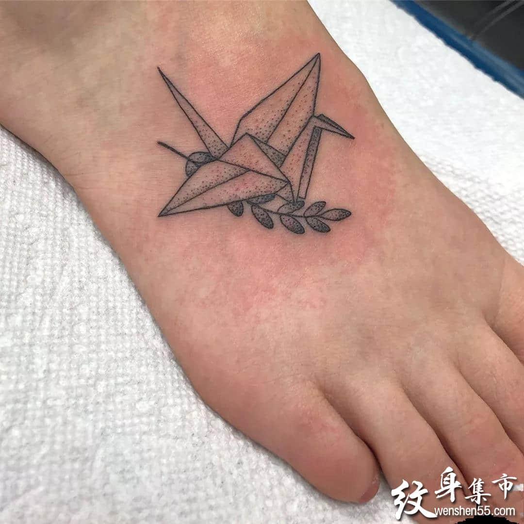 千纸鹤纹身,千纸鹤纹身手稿,千纸鹤纹身手稿图案