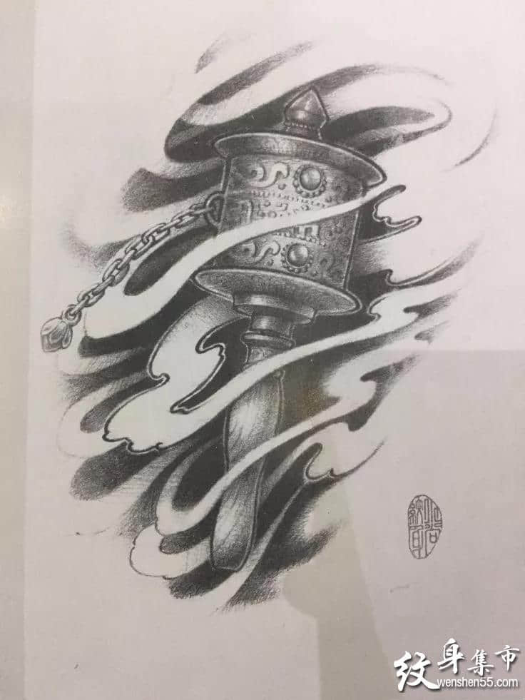 降魔杵纹身,降魔杵纹身手稿,降魔杵纹身手稿图案
