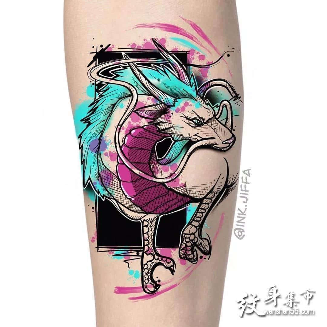 小白龙纹身,小白龙纹身手稿,小白龙纹身手稿图案