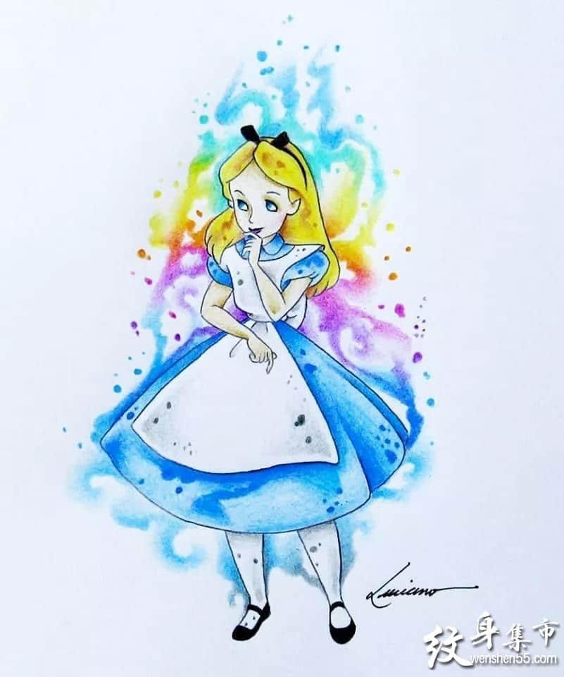 爱丽丝纹身,爱丽丝纹身手稿,爱丽丝纹身手稿图案