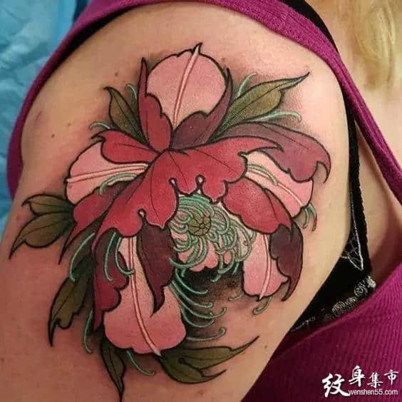 牡丹纹身,牡丹纹身手稿,牡丹纹身手稿图案