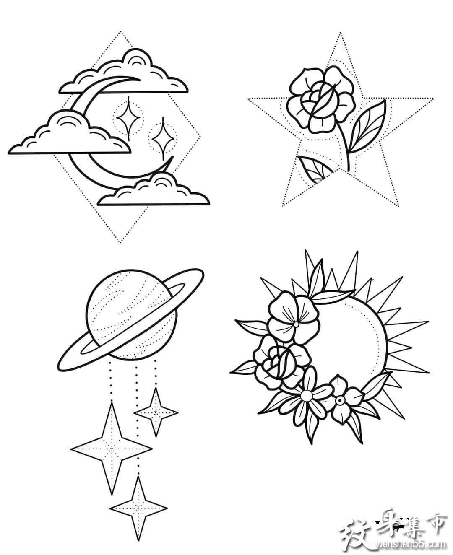 简约点刺纹身,简约点刺纹身手稿,简约点刺纹身手稿图案