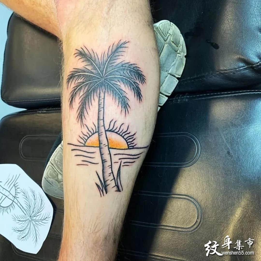 海滩纹身,海滩纹身手稿,海滩纹身手稿图案